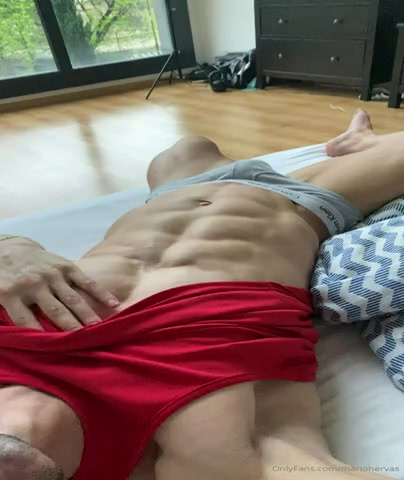 Mario Hervas feeling his body and cock