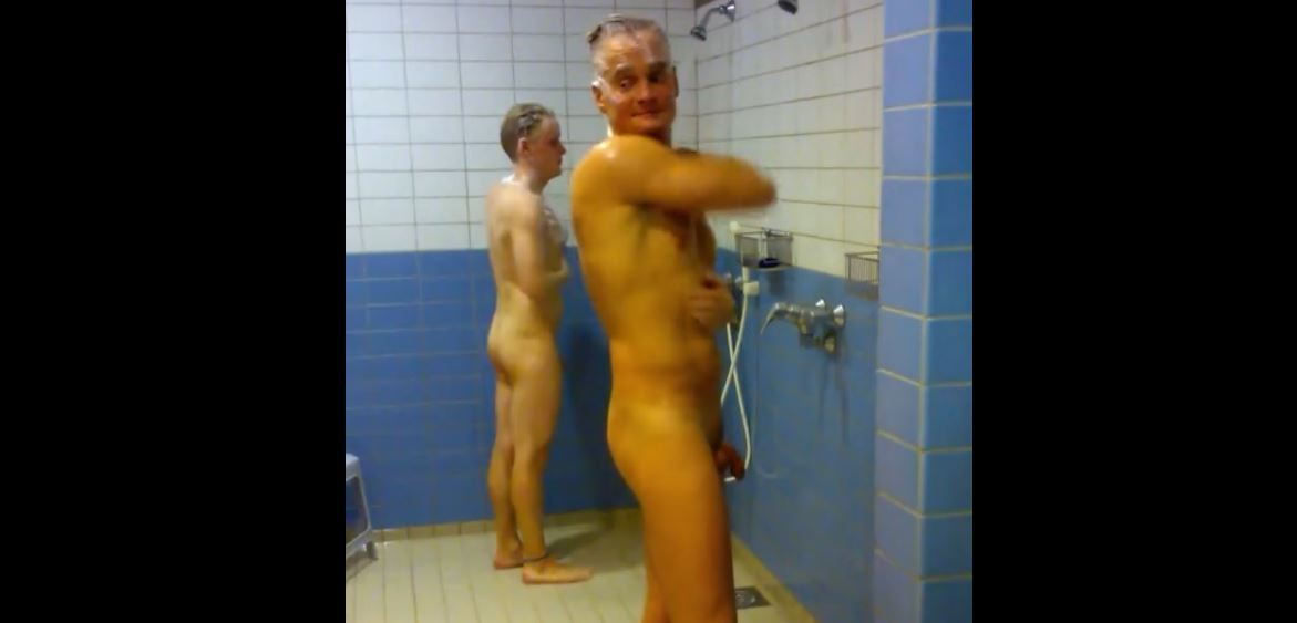 Hidden Camera in the Showers. Two guys with wondering eyes
