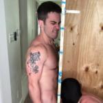Jordan getting a blowjob through a glory hole - JordanxBrandt