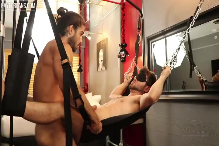 Hot blindfolded guy gets fucked in a sling by Diego Sans