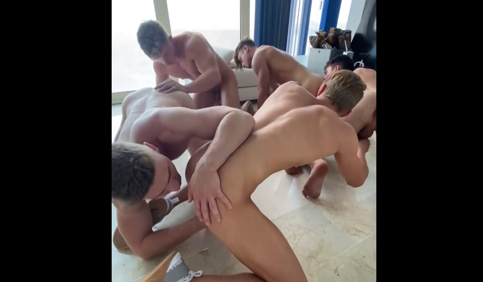 Five guys jerking off and rimming each other