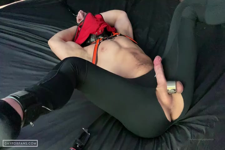 Using my chained up and gagged boyfriend as a cum dump - Gagesantoro