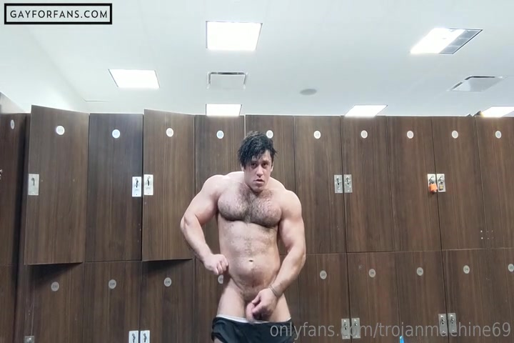 Flexing In The Gym Locker Room And Getting My Cock Out - Trojanmachine69