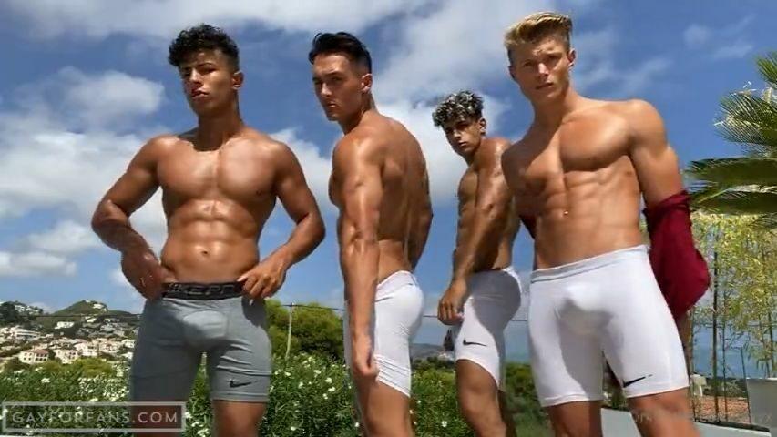 Four hot young muscle studs flexing nude - Levy Van Wilgen