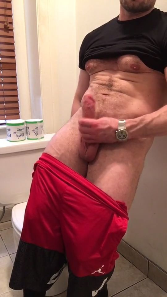 Muscle hunk showing off his morning wood