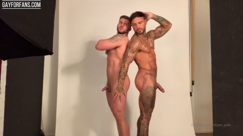 Muscular guys doing a nude photoshoot