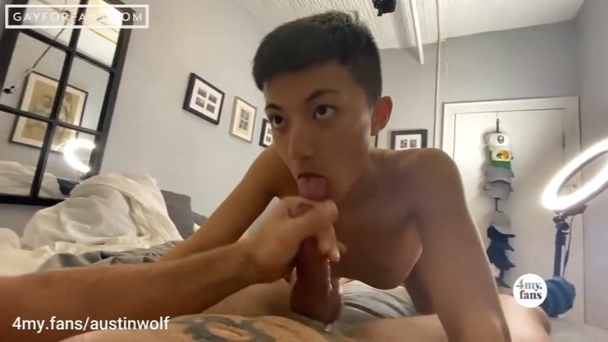 Young Asian twink swallowing Austins load