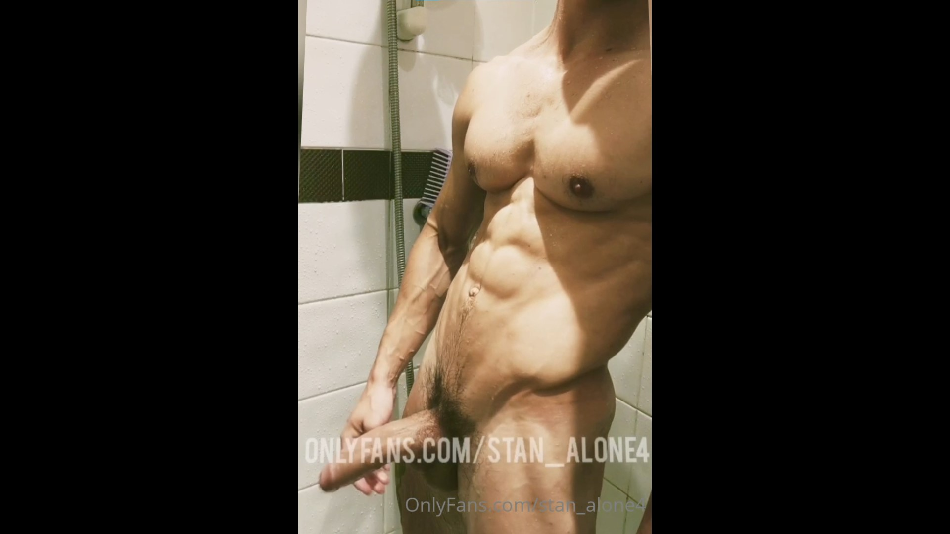 Jerking my thick cock in the shower and rubbing cum over myself - Stan_alone4