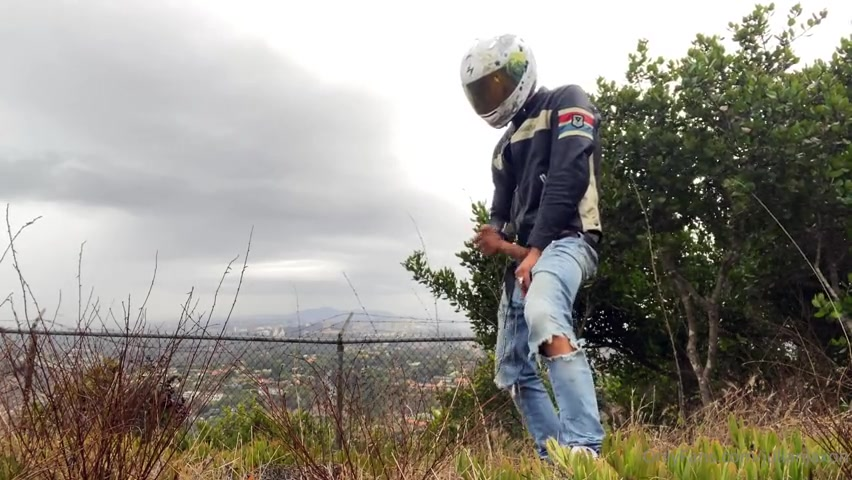 Jerking off outside in my motorbike gear - Julian Jaxon