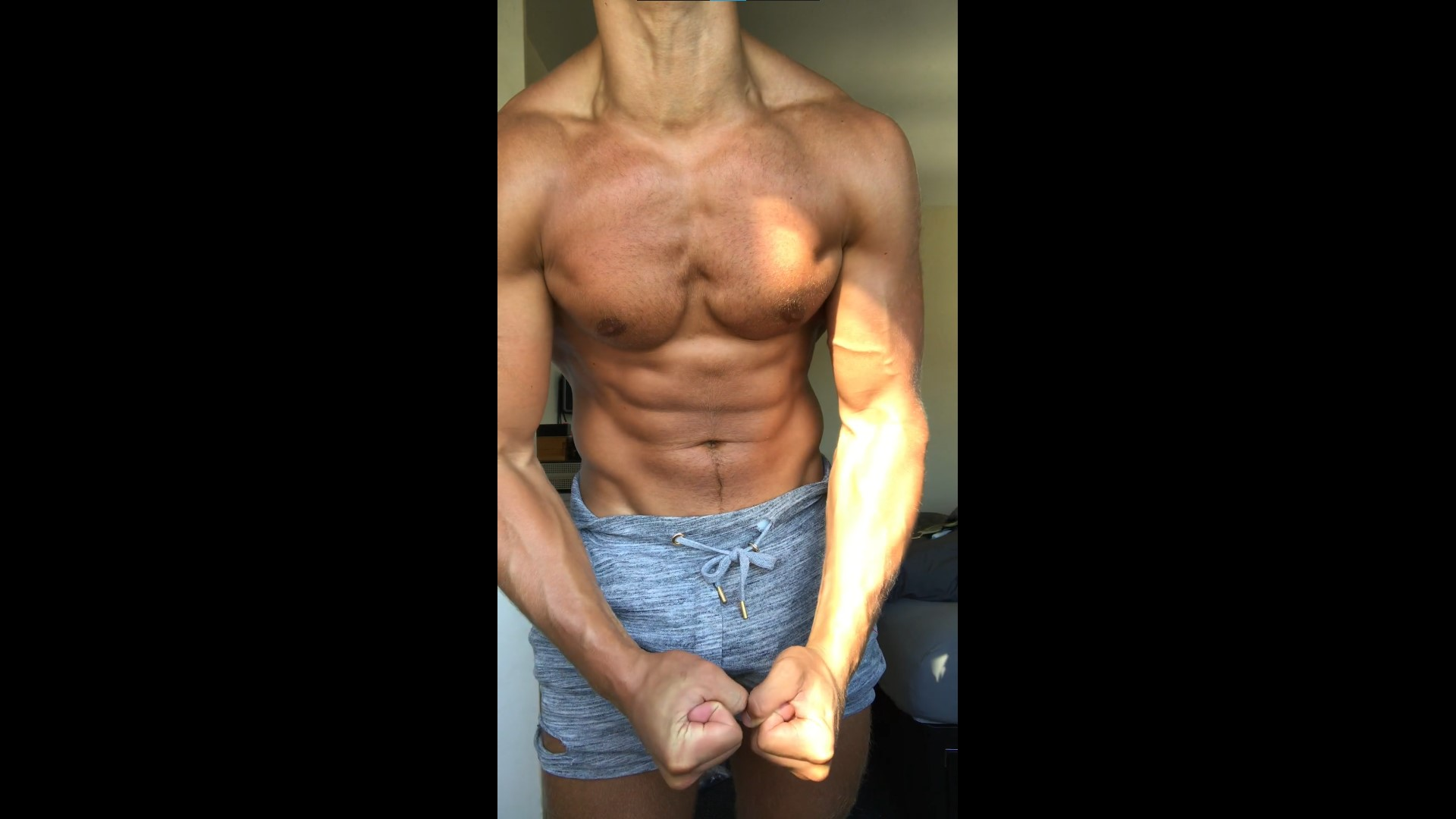 Feeling my cock through my shorts - RippedMaxim
