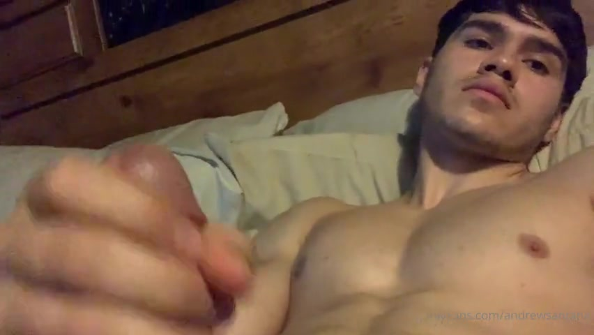 Jerking off and shooting a load over my face and chest - Andrew Santana