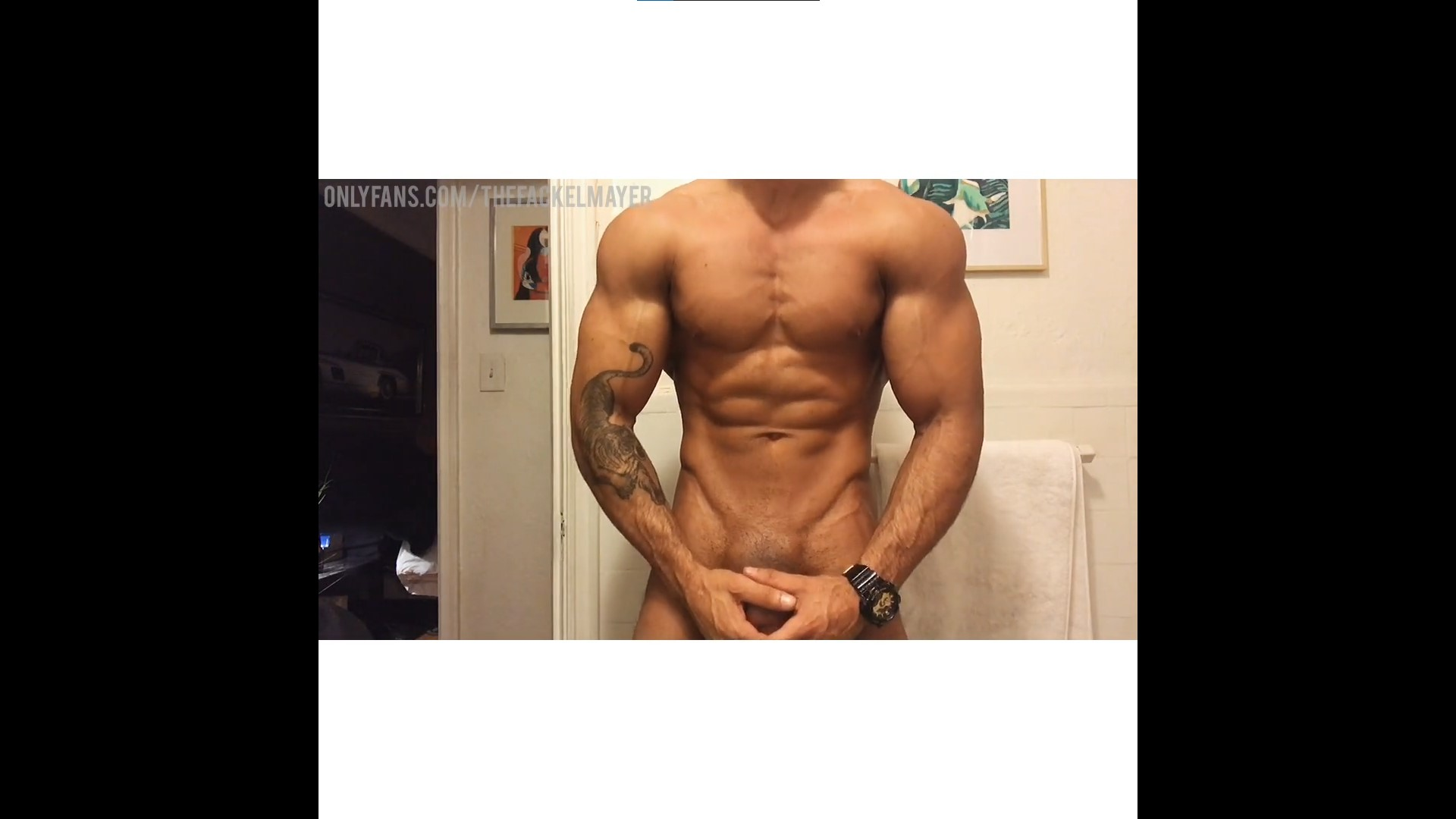 Showing off my muscles and jerking my thick cock till I cum - TheFackelmayer