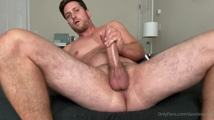 Jerking my thick cock and shooting a load over myself - David Ego (Davideego07)