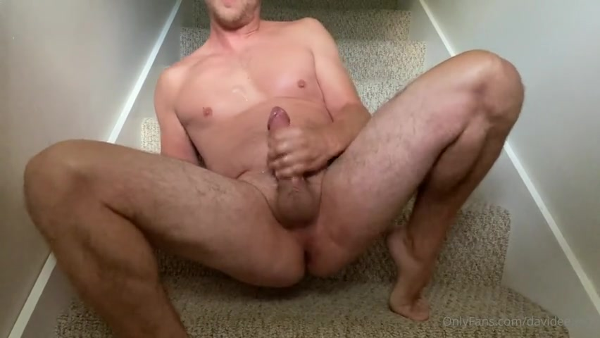 Sitting on the stairs and jerking my cock till I cum over myself - David Ego (Davideego07)