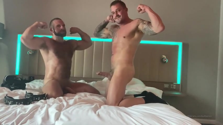 Punching a hot handcuffed muscle stud and jerking off - Bull Barrett