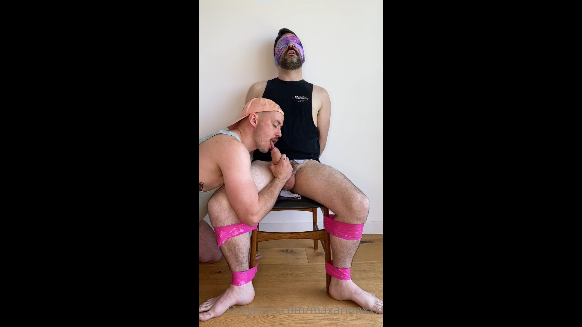 Handcuffed and blind folded while being sucked and jerked off - Max Arion