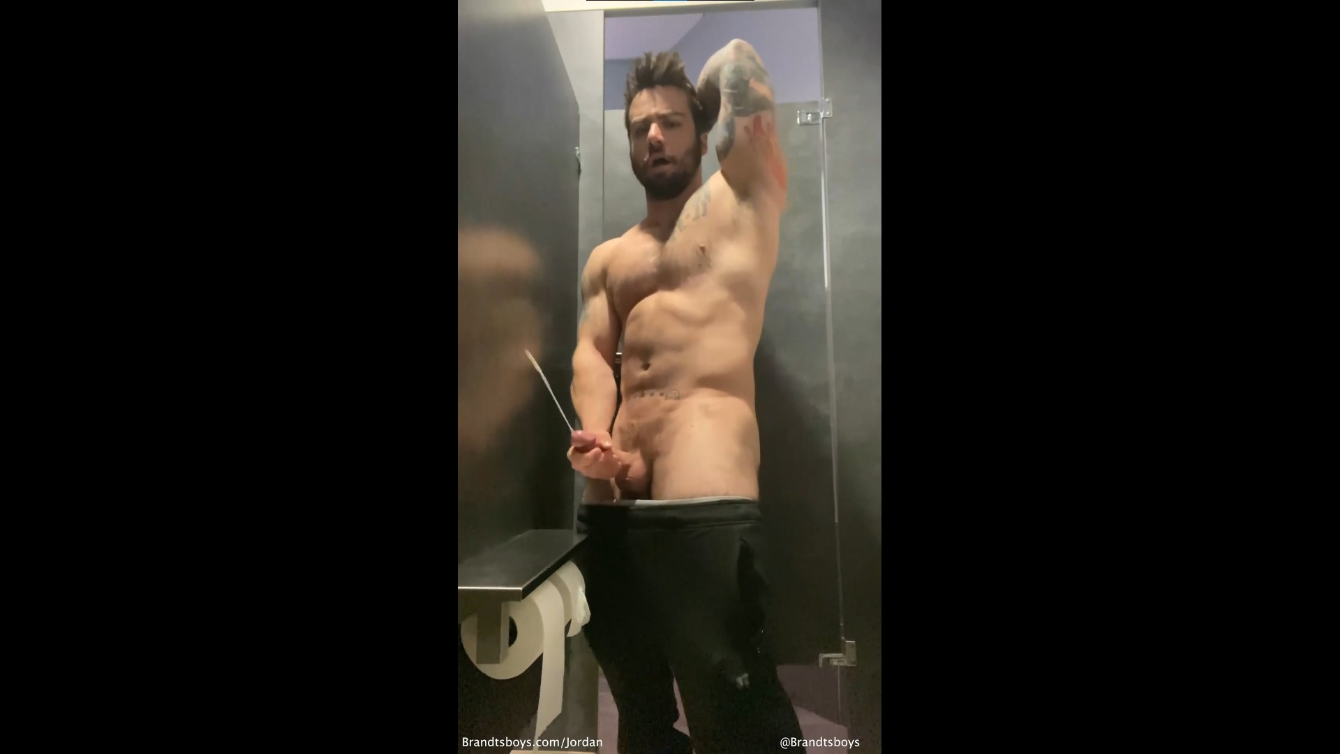 Jerking off in the bathroom stall at work and almost getting caught - JordanxBrandt