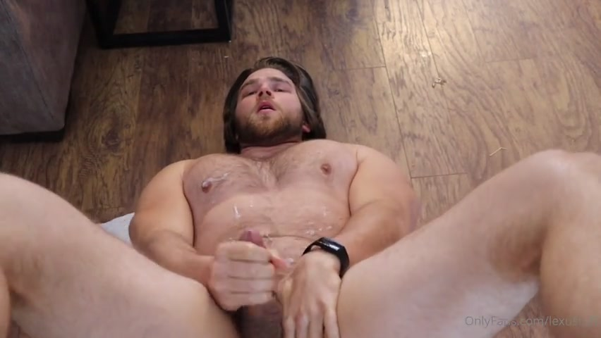 Jerking off and shooting a load over myself - Lexnstuff