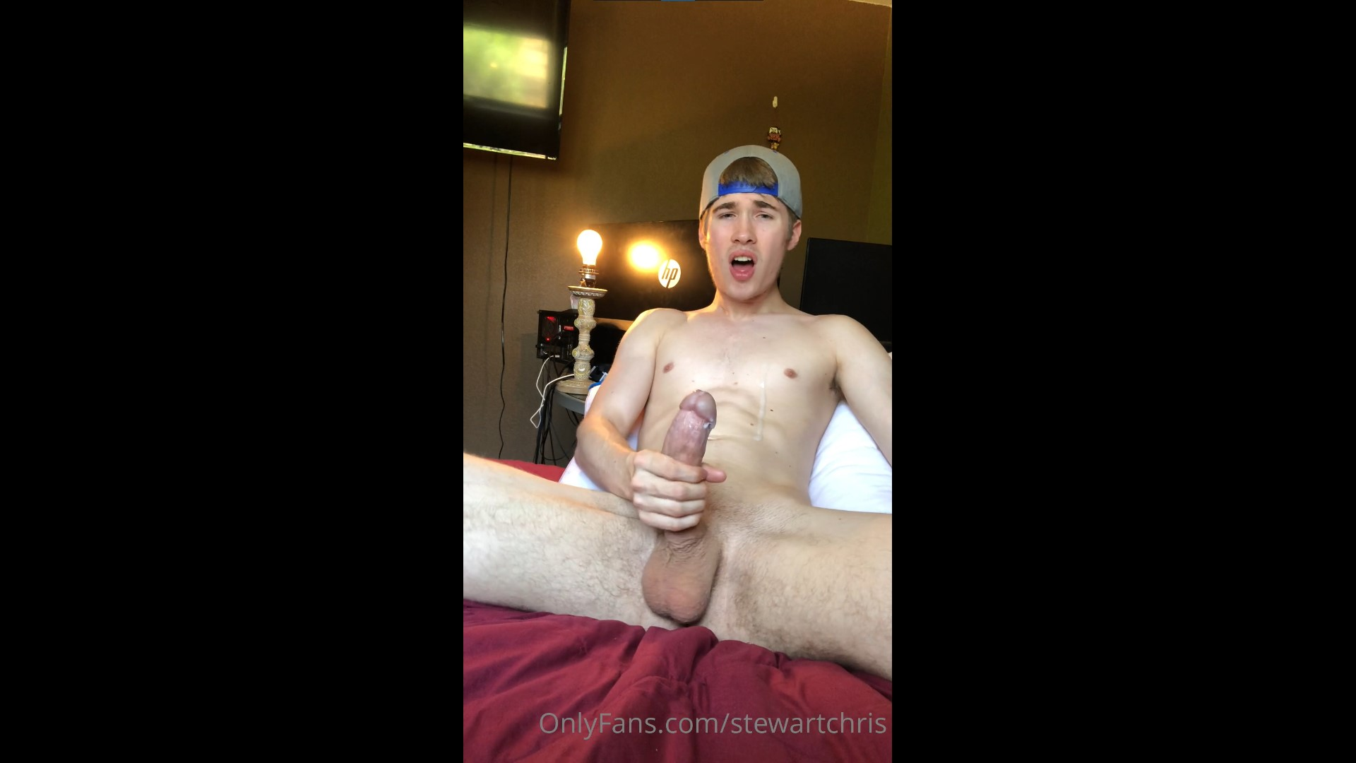 Jerking off and shooting a load over myself - Chris Stewart