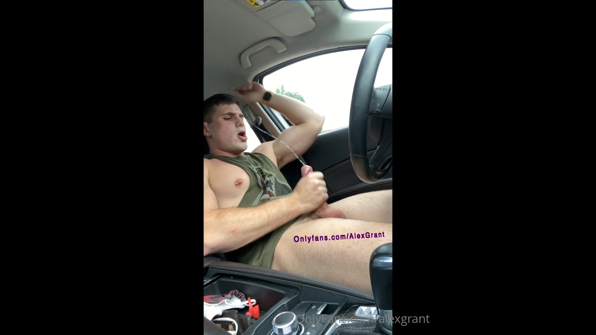 Jerking off after gym and shooting a huge load over my face - Alex Grant