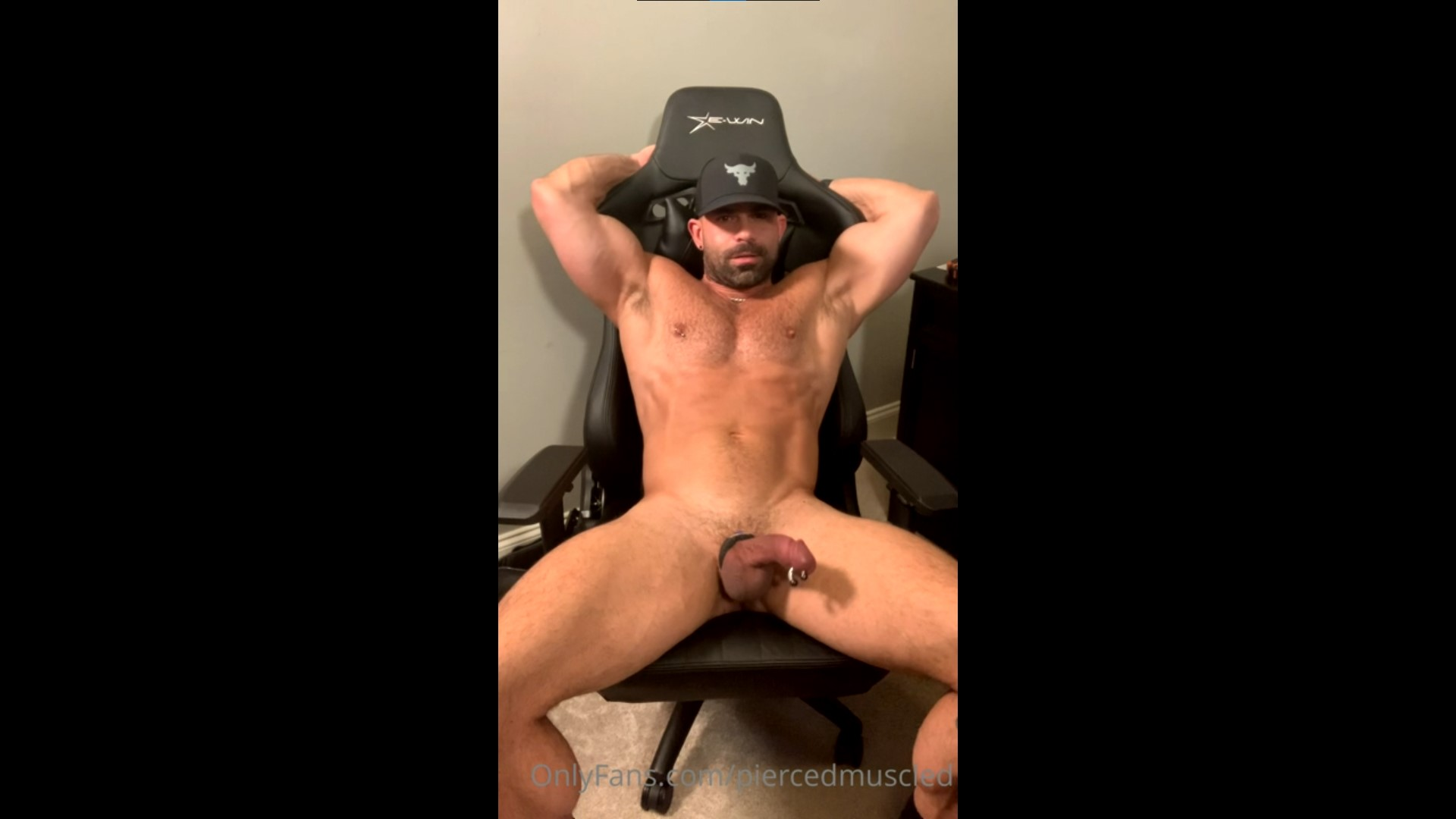 Jerking off while using a vibrating cock ring - Pierced Muscled