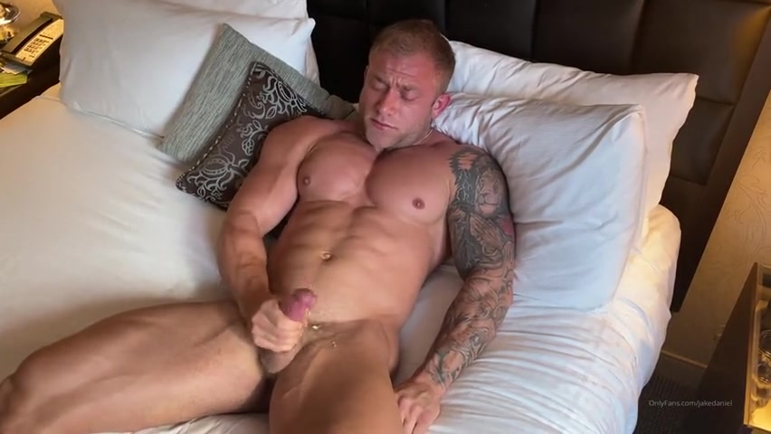 Jerking off in my hotel room and cumming over myself - Jake Daniel