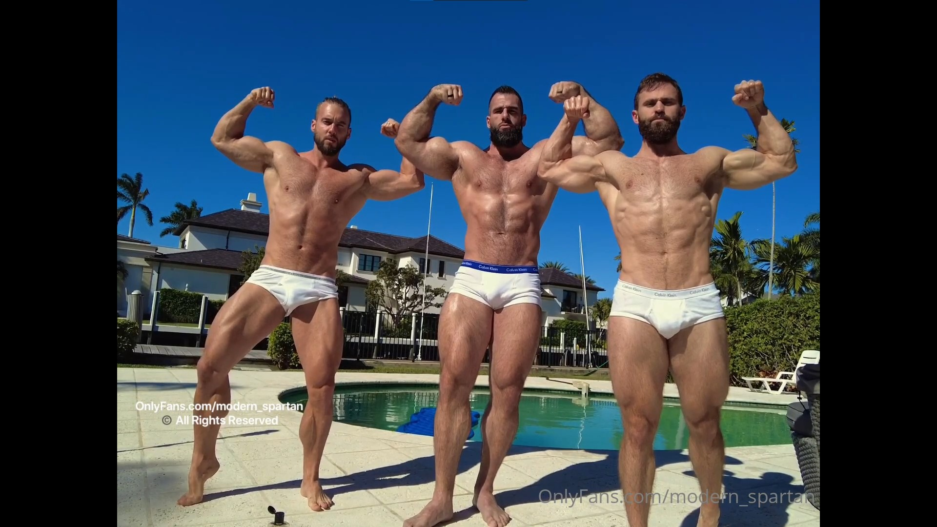 Getting rubbed down by two muscle hunks and flexing together - Nick Pulos (modern_spartan)