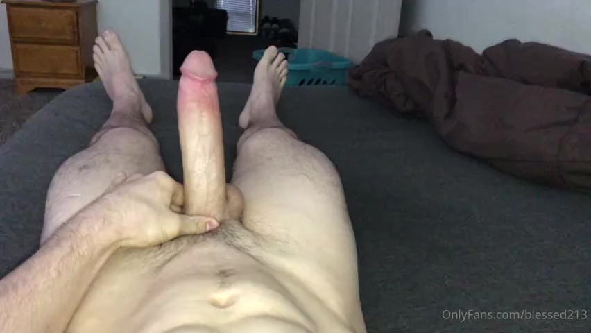 Jerking my huge cock in bed till I cum - blessed213