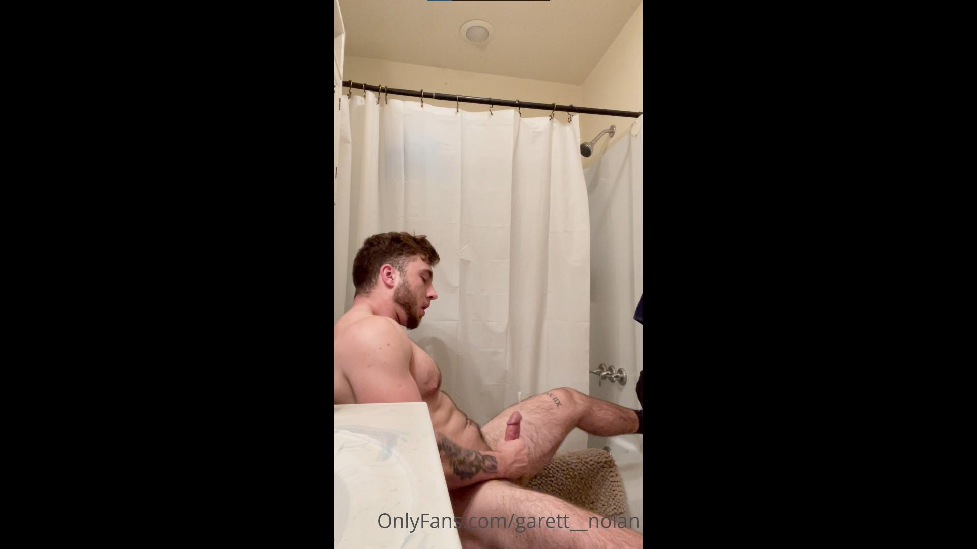 Jerking off hard in the bathroom and shooting my load - Garett Nolan